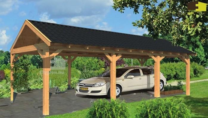 Garage Met Carport : Stevige carport in hout met berging impregneren bruin blokhut